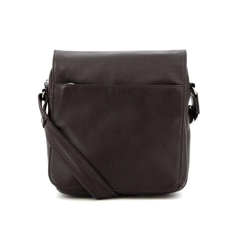 HEXAGONA Δερμάτινη καφέ τσάντα ταχυδρόμου Hew18Q